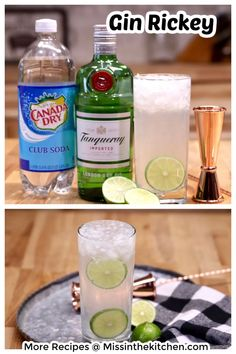 The Gin Rickey is a refreshing and delicious cocktail that has been around for ages. The classic has stood the test of time because it's simple and delicious. It's made with gin, lime and club soda or seltzer for a must- try party drink. Cocktails For Parties, Easy Cocktails, Classic Cocktails, Party Drinks, Cocktail Recipes, Drink Recipes, Orange Juice Cocktails, Easy Mixed Drinks, Pineapple Rum
