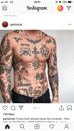 Sleeve Tattoos for Men – Best Sleeve Tattoo Ideas and Designs Torso Tattoos, Boy Tattoos, Music Tattoos, Body Art Tattoos, Tattoos For Guys, Sleeve Tattoos, Tatoos Men, Full Body Tattoo, Viking Tattoo Sleeve