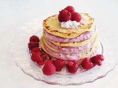 Protein Pancakes with Raspberry Yogurt and Cottage Cheese