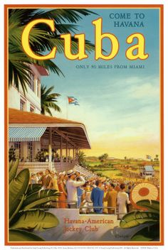 Cuba - vintage travel poster by Kerne Erickson