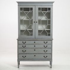 Swedish Antique Book Cabinet with Old Glass circa 1880