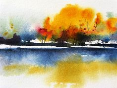 Buy original art by charles ash watercolor painting autumn o Watercolor Landscape Paintings, Watercolor Pictures, Watercolor Projects, Watercolor Trees, Watercolor Techniques, Abstract Watercolor, Watercolor And Ink, Abstract Landscape, Watercolour Painting