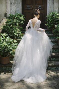 The details on this bride& lace embroidered tulle wedding gown! // Aston and Victoria?s Breathtaking Engagement on the Amalfi Coast of Italy Outdoor Wedding Dress, Tulle Wedding Gown, Wedding Dress Sleeves, Long Sleeve Wedding, Dream Wedding Dresses, Bridal Gowns, Backless Wedding, Long Sleeved Wedding Dresses, Winter Wedding Dress Ballgown