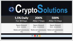 CRYPTO SOLUTIONS investment review Bitcoin FORUM HYIP Start: 08.04.16 Features: - Language: EN  - Accept: BitCoin [BTC] PM Payeer ADVCash - Payments: Manual - Referral plan: 2-10% - Fee for withdrawal: No - Minimum deposit: 10 USD - Minimum withdrawal: 0.01 USD - Comodo + Green Bar BitCoinAdvCashPayeerPerfectMoney Invest plans: 1.5% Daily For 30 Days 200% After 7 Days 500% After 15 Days 1100% After 30 Days 2000% After 50 Days