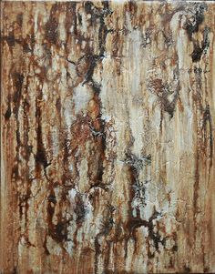 Brown and Silver Textured Abstract Painting by AmyNealArtStudio