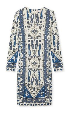 Our Matte Jersey Crewneck Dress perfectly captures the Marrakech-meets-Chelsea inspiration of the season | Tory Burch Fall 2015