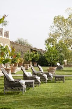 Relaxation on the garden lawn in Tuscany, Italy