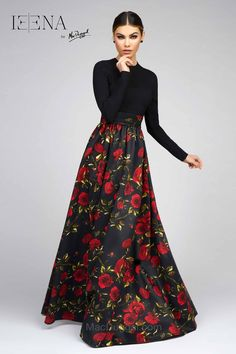 Black and Rose Long Dress