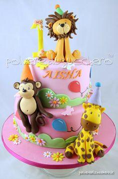 Torta per il 1° compleanno di una bimba: gli animali della savana leone, giraffa e scimmia