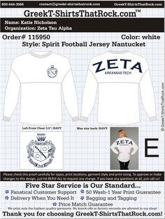 Start your Zeta Tau Alpha Fall Recruitment Shirts HERE! Just click this image and upload your ideas! Delta Phi Epsilon, Zeta Tau Alpha, Sigma Kappa, Spirit Jersey, Bid Day, Chi Omega, Best Wear, Fraternity, White Style
