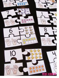 This has great learning game ideas! Puzzle math station for representing numbers - Building Number Sense in First Grade Kindergarten Centers, Preschool Math, Math Classroom, Teaching Math, Math Activities, Number Sense Kindergarten, Number Sense Activities, Classroom Ideas, Math For Kids