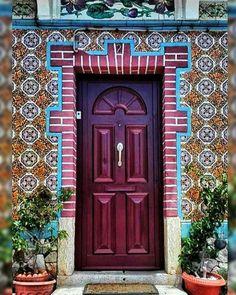 Maroon door carries elements of darkness but still holds the youthful excitement and energy of the color red. Cool Doors, Unique Doors, Portal, Door Knockers, Door Knobs, Doors Galore, When One Door Closes, Grand Entrance, Closed Doors