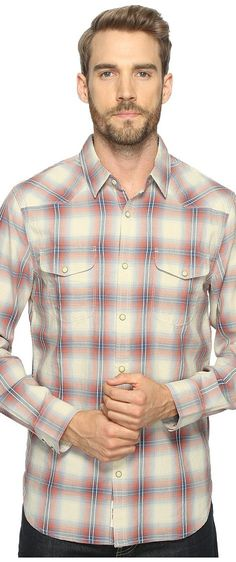 Lucky Brand Santa Fe Western Shirt (Red/Light Blue) Men's T Shirt - Lucky Brand, Santa Fe Western Shirt, 7M42441-961, Apparel Top Shirt, T Shirt, Top, Apparel, Clothes Clothing, Gift - Outfit Ideas And Street Style 2017