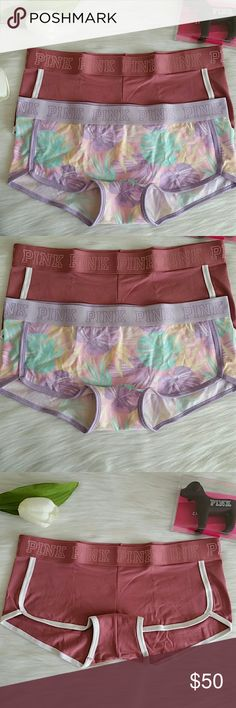 2 Nwt Pink Victoria's Secret Logo boyshort size L Brand new with tags never worn.Pink Victoria's Secret logo boyshort size L. Smoke and pet free.  Fast shipping + extra gift.  I don't trade love.  Limited Available. Price for both. PINK Victoria's Secret Intimates & Sleepwear Panties