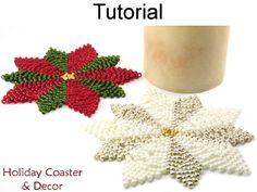Beaded Holiday Christmas Poinsettia Snowflake Coaster Beading Pattern Tutorial
