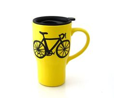 Ceramic Travel mug with bike in bright yellow by LennyMud on Etsy, $20.00