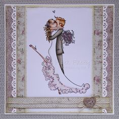 Handmade wedding couple card (image by Stamping Bella)