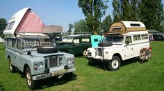 Land Rover Motorcaravans left to right Dormobile 109 Series 2A Station Wagon…