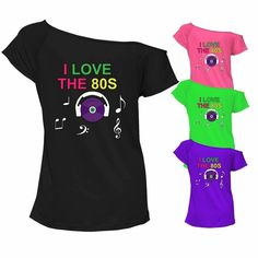 7aa22e6b2 I Love The 80s T Shirt Top Off Shoulder Retro Festival Party Outfit 6927  Lot#