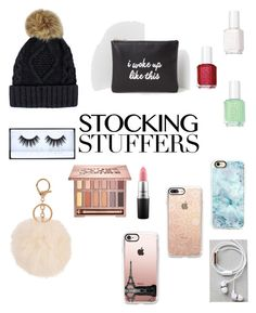 """""""Untitled #7"""" by typicalstyles ❤ liked on Polyvore featuring Casetify, Armitage Avenue, MAC Cosmetics, Essie, Happy Plugs, Missguided, Urban Decay and Huda Beauty"""