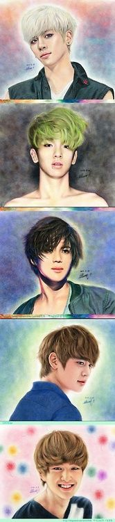 SHINee fanart with colored pencils! omg!