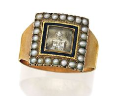 GEORGIAN ENAMEL AND SEED PEARL MOURNING RING, LATE 18TH CENTURY The square shaped design depicting a neoclassical mourning scene in sepia beneath a crystal panel, within a black enamel border and seed pearl frame, mounted in rose gold, with inscription to the reverse.