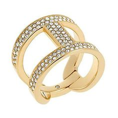 MKJ4462 Michael Kors Maritime Link Ring Gold Tone Crystal Pave Size 7