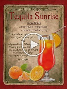 Tequila sunrise cocktail recipe metal sign :home bar:pub:bar:cafe: lovely gift Ready To Hang. Liquor Drinks, Cocktail Drinks, Alcoholic Drinks, Beverages, Champagne Cocktail, Juice Drinks, Mixed Drinks Alcohol, Alcohol Drink Recipes, Fireball Recipes
