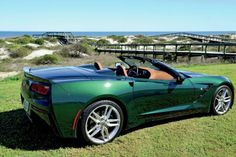 2014 Chevrolet C7 Corvette Convertible in Lime Rock Green Metallic driven to the Amelia Island Concours.