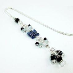 Beaded Metal Hook Bookmark Blue Sapphire by BrossARTaddiction, $15.00