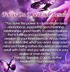 FOCUS ON THE END RESULT