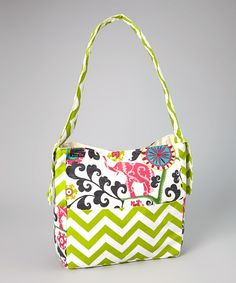 Take a look at this Brownie Gifts Green Zigzag Elegant Elephant Diaper Bag on zulily today!