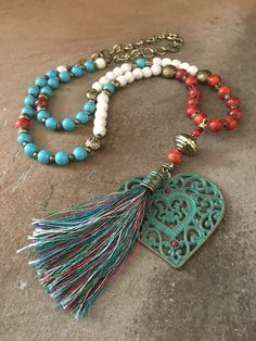 """Patina Heart Tassel Pendant Necklace - Bohemian -Sedona - Turquoise - Red Coral - Gemstone Beaded - 30"""" Long - Boho Chic -  mSs Designs by mSsDdesigns on Etsy"""