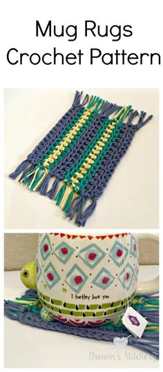 """I'm obsessed with my new Mug Rugs! They are so cute and because they are made of cotton, they are great coasters.You could use acrylic, it would definitely still give that """"rug"""" look, but acrylic yarn won't absorb moisture like cotton yarn will. These coasters are so easy and a great beginner pattern. This pattern …"""