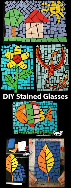 DIY Stained Glasses More Do wild animals for Bubba's party Paper Mosaic, Mosaic Art, Projects For Kids, Art Projects, Arte Elemental, Ecole Art, Art Classroom, Summer Crafts, Art Activities