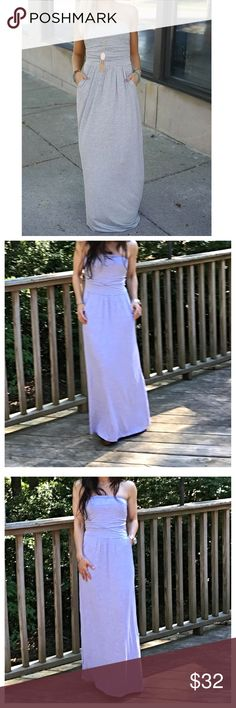 🆕 heather grey tube dress Chic side pocket light jersey knit with spandex tube maxi dress PLEASE Use the Poshmark new option you can purchase and it will give you the option to pick the size you want ( all sizes are available) BUNDLE and save 10% ( no trades price is firm unless bundled) Dresses Maxi