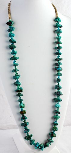 TURQUOISE CHUNKY NAVAJO NECKLACE WITH HEISHE BEADS