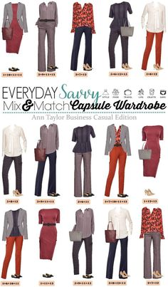 At one time my entire work wardrobe was Ann Taylor. This Ann Taylor business casual capsule wardrobe will have you looking great at work. It includes some pops of color and pattern mixing. Business Casual Outfits For Women, Casual Work Outfits, Professional Outfits, Business Outfits, Work Attire, Work Casual, Fall Outfits, Business Attire, Office Outfits