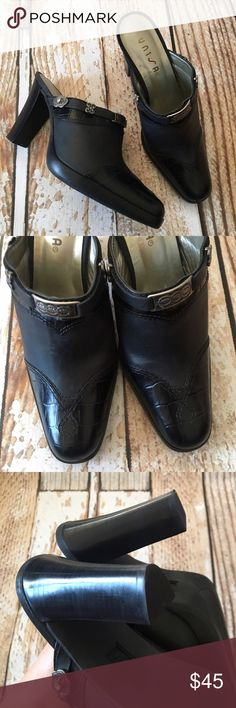Unisa Sherwood slip on genuine leather heels Unisa Sherwood slip on genuine leather black heels with boot like look size 6. Very gently used. Worn maybe 1-2 times and like new. Also available in brown in my closet. Unisa Shoes Ankle Boots & Booties
