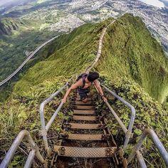 "The Amazing Haiku Stairs or Stairway to Heaven. it's Oahu's Ko'olau mountain range. The so-called ""Stairway to Heaven"" has 3,922 stairs!"