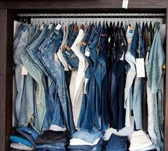 S-hooks hold jeans -16 Closet Organization Hacks That Will Change Your Life - The Krazy Coupon Lady