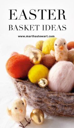 Easter Basket Ideas | Martha Stewart Living - Downy soft chicks and felted eggs fill this twiggy basket. Give it as a gift, or use it as a centerpiece for your Easter table.