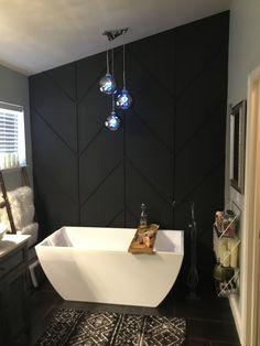 Bathroom Accent Wall, Bathroom Accents, Black Accent Walls, Black Walls, Home Renovation, Home Remodeling, Herringbone Wall, Bathroom Interior Design, House Rooms