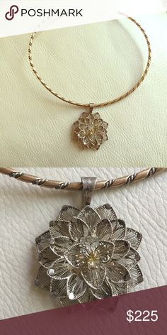 OOAK antique flower pendant with G&S collar Delicate antique silver flower pendant with sterling silver and gold collar Jewelry Necklaces