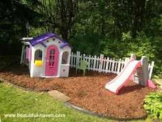 Outdoor Play Area. So pretty plant some flowers and then it will look like a real one