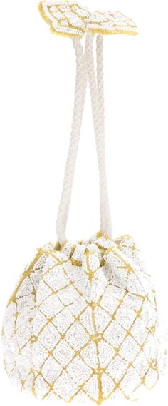 White and yellow glass beaded pouch bag from Saks Fifth Avenue Vintage featuring a drawstring handle fastening and a beige silk lining.
