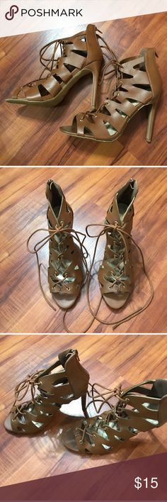 Wild Diva Lounge lace up heels Wild Diva Lounge size 6, nwot. They have never been worn. Zig zag design that laces. Would look cute with any of my dresses that are posted in my closet! Wild Diva Shoes