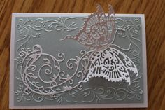 Created by Karen Kurtz. Scrapbook Cards, Scrapbooking, Tattered Lace Cards, Butterfly Crafts, Wedding Anniversary Cards, Embossed Cards, Cricut Cards, Die Cut Cards, Create And Craft