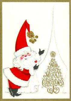 vintage mid-century modern Christmas  greeting card with Santa Claus, mid mod retro