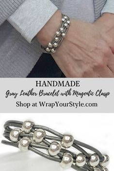 Gray Leather Bracele